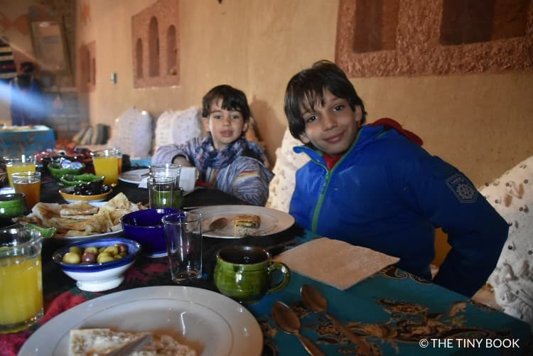 Breakfast for kids in a riad Morocco.