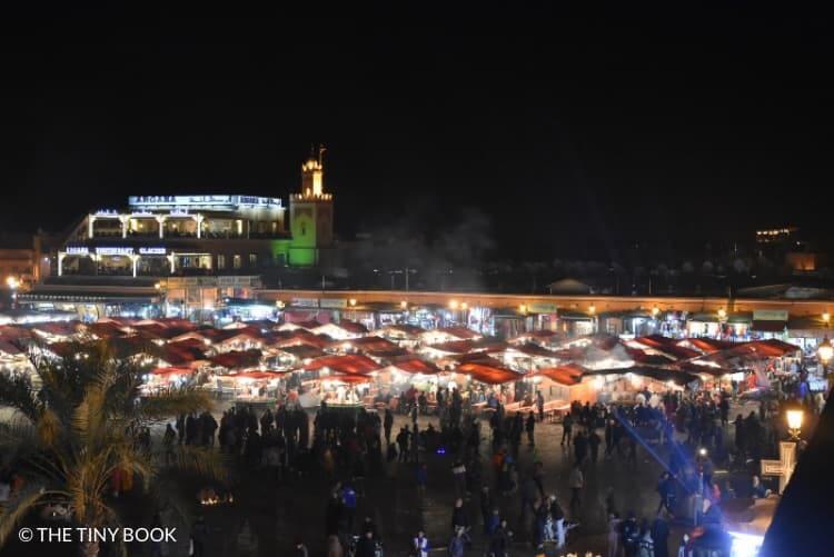 Place Jemaa el Fna at night.