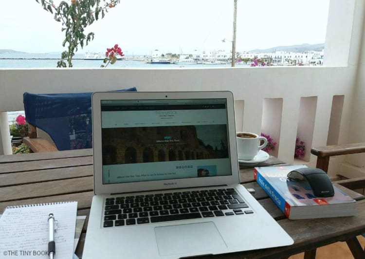 Working on the balcony with the view of Antiparos.