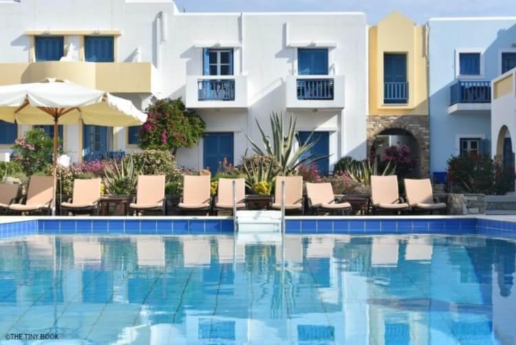 Swimming pool, Kouros Village, Antiparos island, Greece.