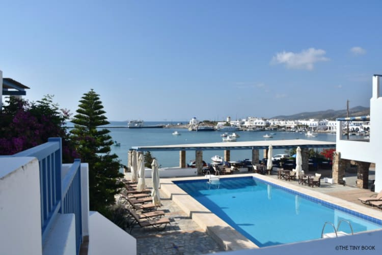 Kouros village in Antiparos island, Greece, view form the balcony, swiming pool and Antiparos village.