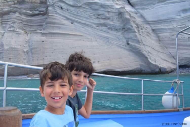 Kids sailing in Antiparos Greece