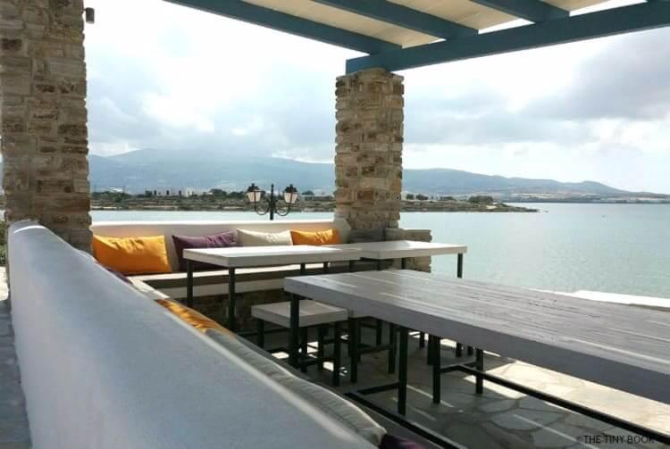 Kouros village in Antiparos, Breakfast area, view of the sea.