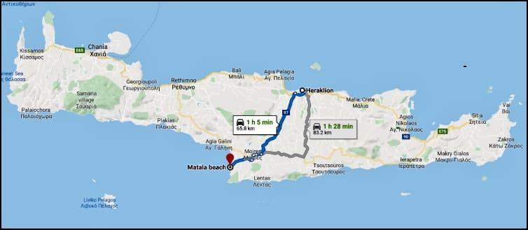 Map Heraklion - Matala, Crete.