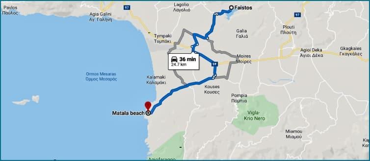 Matala - Festos Map, Crete island