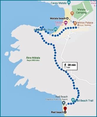 Matala- Red beach map