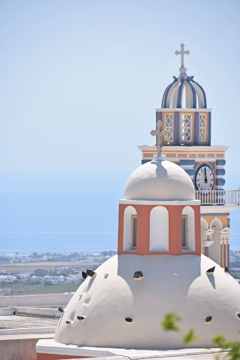 Fira, domes of churches, Santorini