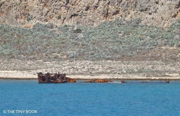 Shipwreck in front of Gramvousa.