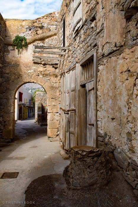 Museums and old building and arch, Spinalonga island (Crete)